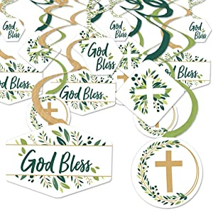 Big Dot of Happiness Elegant Cross - Religious Party Hanging Decor - Party Decoration Swirls - Set of 40