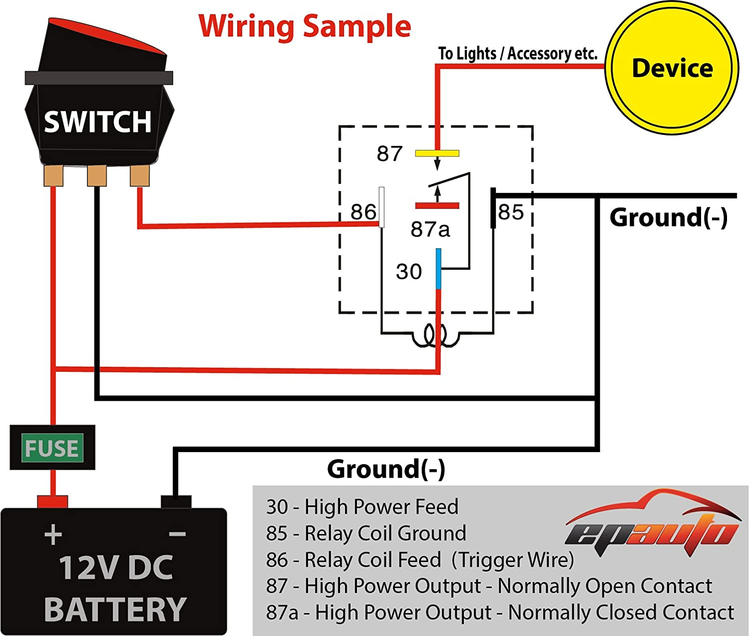 [DIAGRAM_3US]  Amazon.com: 5 Pack - EPAuto 30/40 AMP Relay Harness Spdt 12V, 5-PIN SPDT  Bosch Style: Automotive | 12 Volt Relay Wiring Schematic |  | Amazon.com