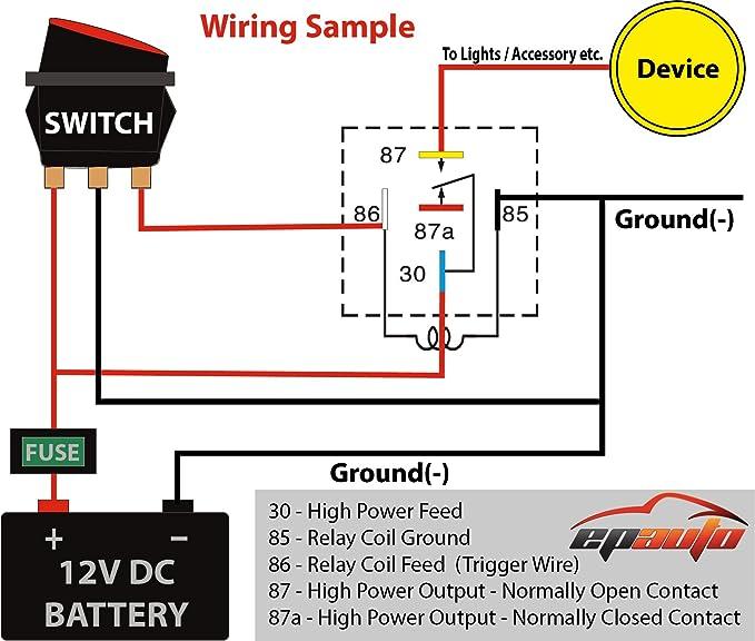 Amazon 5 Pack Epauto 3040 Relay Harness Spdt 12v Bosch Rhamazon: 12v Relay Wiring Diagram On For Motorcycle At Gmaili.net