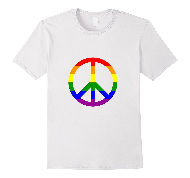 Rainbow Pride Flag Peace Sign Symbol T Shirt Vaci Vaciuk