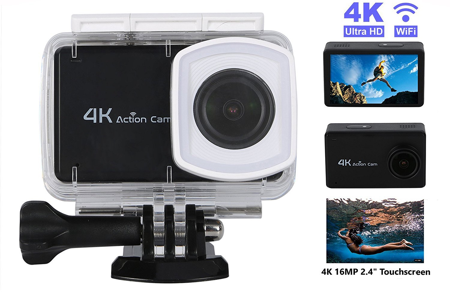 Action and Sports Camera 4K WIFI Cam 16MP Ultra HD Underwater 30M Sports Camcorder with 170° Ultra Wide-Angle Len Sony Sensor - Black