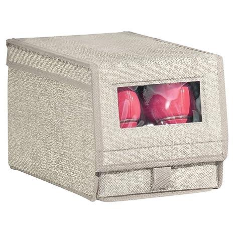 mDesign Caja para zapatos de tela (pequeña) – Cajas apilables con ventana, cierre