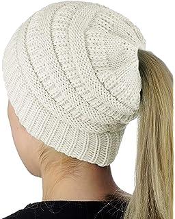 50835b0616c9 Yidarton Bonnet Femme Hiver Tricot avec Trou pour Queue de Cheval Beanie  Chapeau