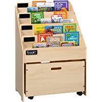 Artiss Kids Bookshelf Wooden Bookcase with Movable Storage Box Natural