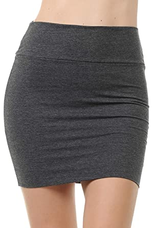 3f3aaba51e Fashion Aktiv Basic Double-Layer Cotton Simple Stretchy Tube Pencil Mini  Skirt (Small,