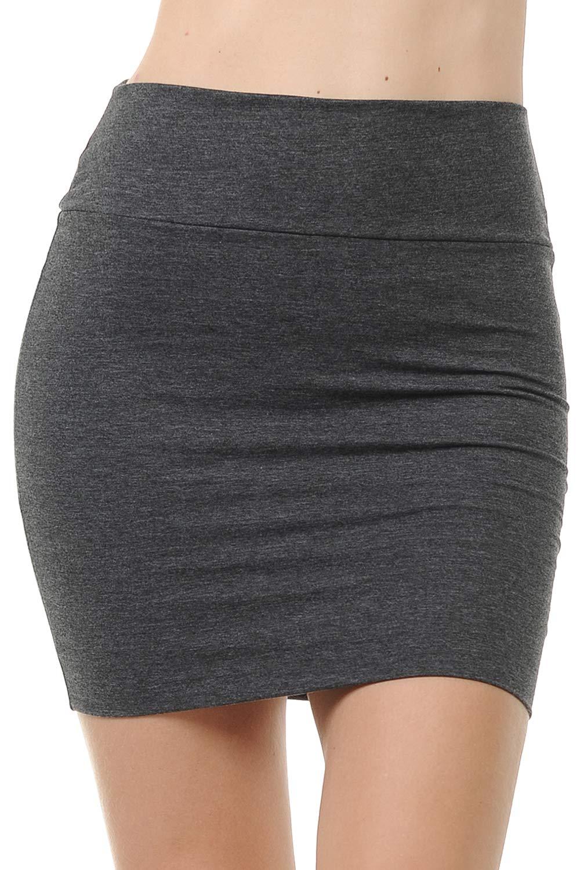 Fashion Aktiv Basic Double-Layer Cotton Simple Stretchy Tube Pencil Mini Skirt (Large, Charcoal Grey)