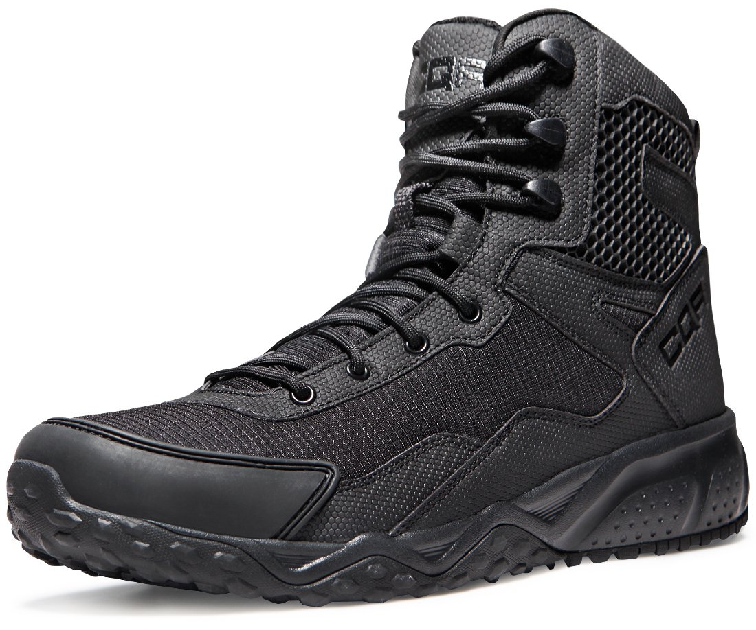 CQR Men's Combat Military Tactical Mid-Ankle Boots EDC Outdoor Assault, Side Zip(bz101) - Black, 10.5 by CQR