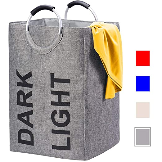 House Day Large Laundry Hamper Bag 100 L  Fabric Collapsible Double Laundry Baskets,Can Stand Up Foldable Laundry Clothes Bag, Waterproof Clothes Bin Travel Hamper For Washing Storage, Dary Grey by House Day