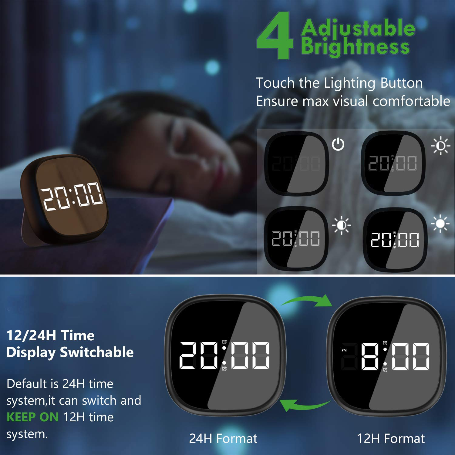Ausein Digital Alarm Clock, Electronic LED Time Display, Adjustable Brightness Dimmer, 12/24Hr, Snooze, Adjustable Alarm Volume for Bedroom, Kidroon Black