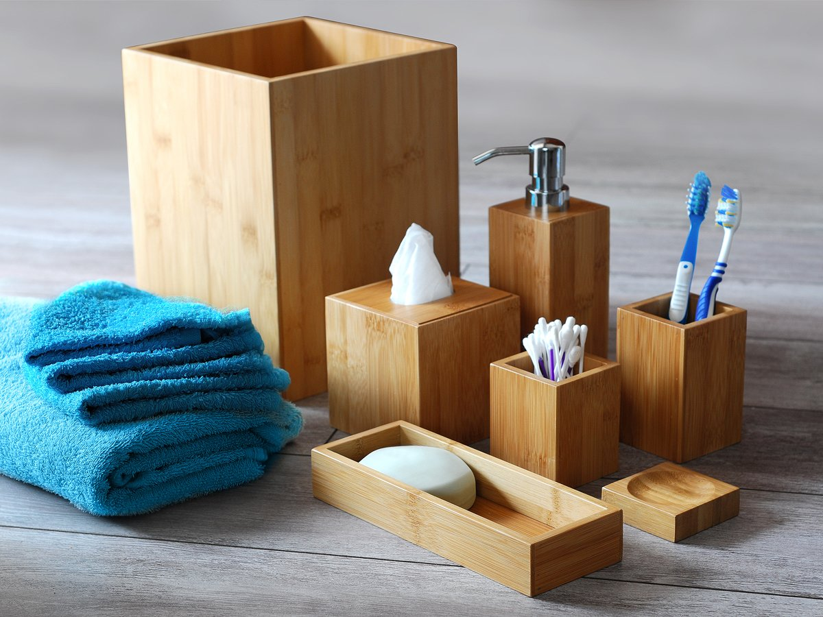 Set accessori da bagno 7x pezzi in legno design decorativo: Amazon ...