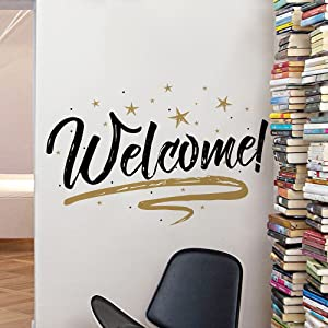 Woodland Arts 22 inches x 15 inches Gold and Black Welcome Home Stars Wall Door Vinyl Removable Decals Stickers for Living Room Bedroom Nursery Classroom