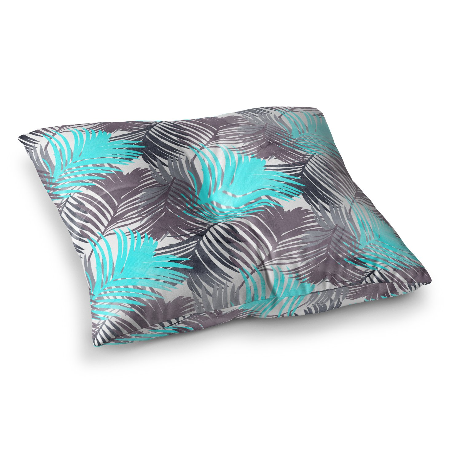 Kess InHouse Cafelab Jungle Pattern Blue Teal Mixed Media Square Floor Pillow 23' x 23' EC3021ASF01