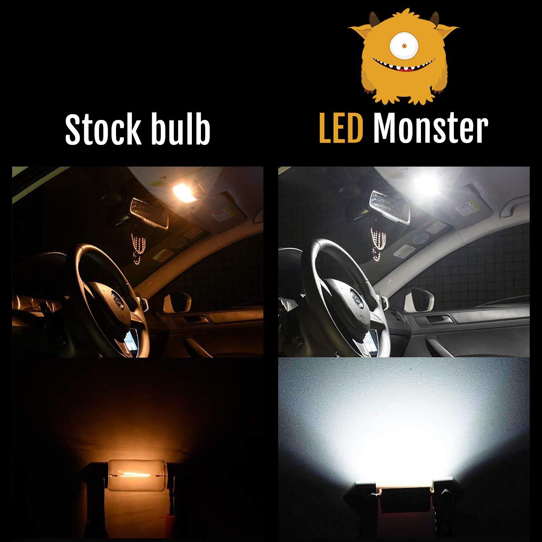 LED Monster T10 194 LED Light Bulb 168 LED Bulbs Bright Instrument Panel Gauge Cluster Dashboard LED Light Bulbs Set 10 T10 LED Bulbs with 10 Twist Lock Socket (White) by LED Monster