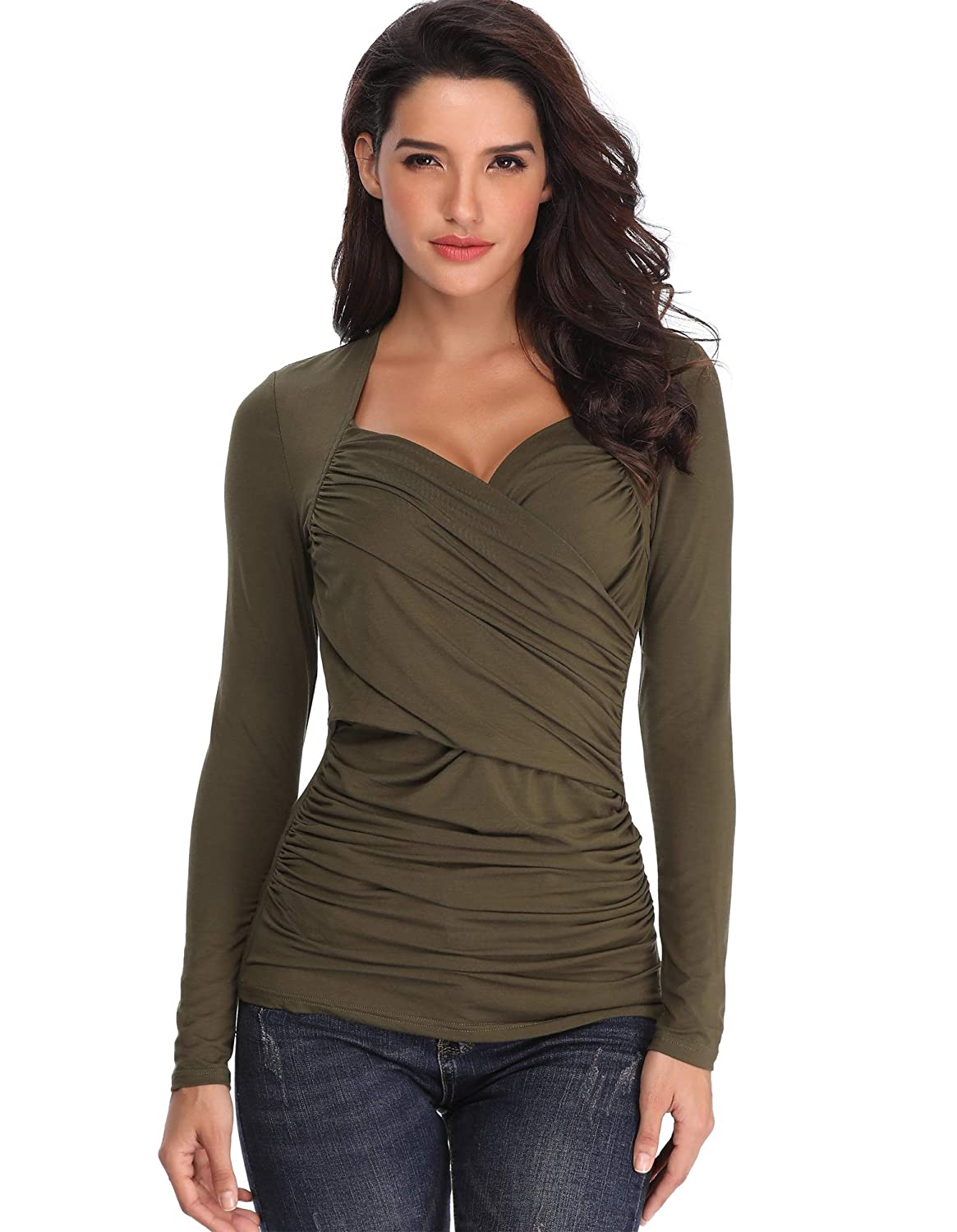 ANIENAYA Womens Long Sleeves Tops Ladies Wrap V Neck Tunics Sexy Blouses T  Shirts Shawl Collar Crossover Casual Pleated Slim Fit  Amazon.co.uk   Clothing 734606bd668a