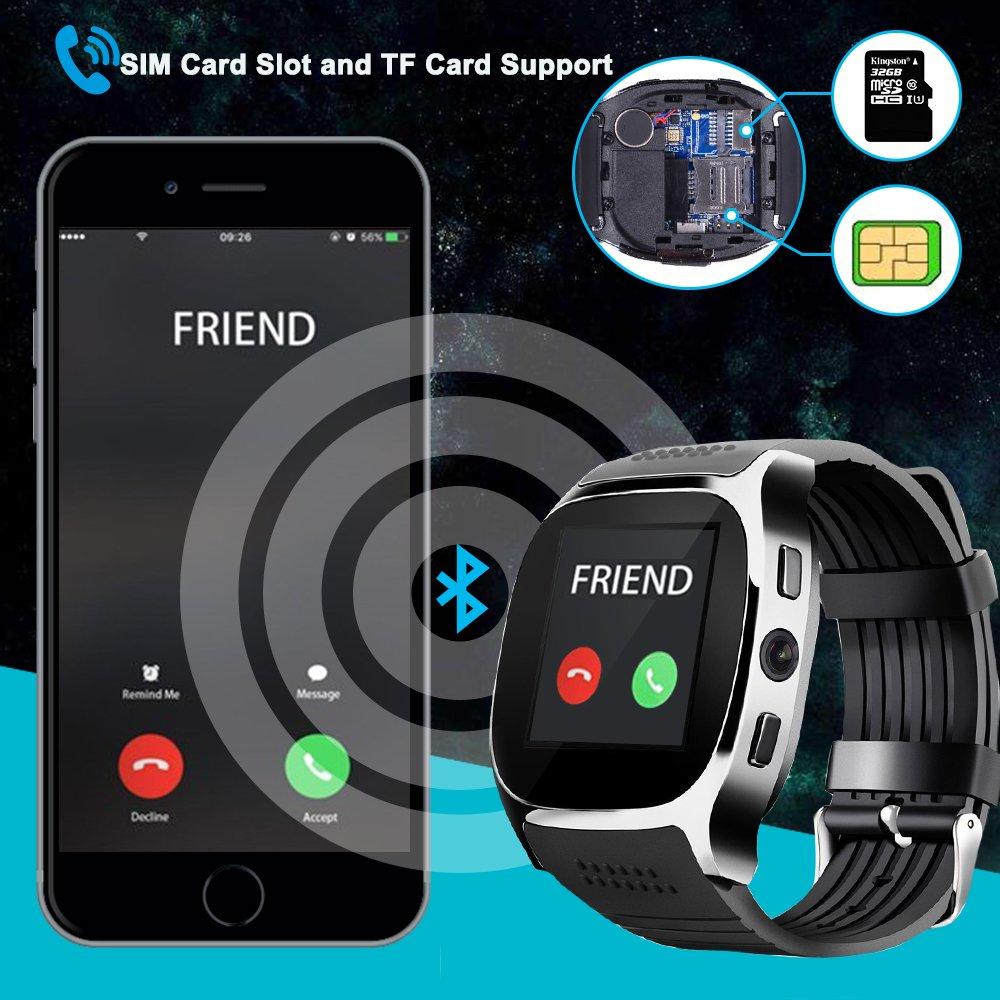 TOP-MAX - T8 - Smartwatch (Bluetooth Smart reloj Oro con tarjeta SIM Cámara Ranura apoyo TF tarjeta auriculares para teléfono Android iOS iPhone 7 7Plus 8 ...