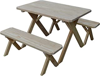 product image for Pressure Treated Pine Unfinished 4 Foot Cross Leg Picnic Table with Detached Benches