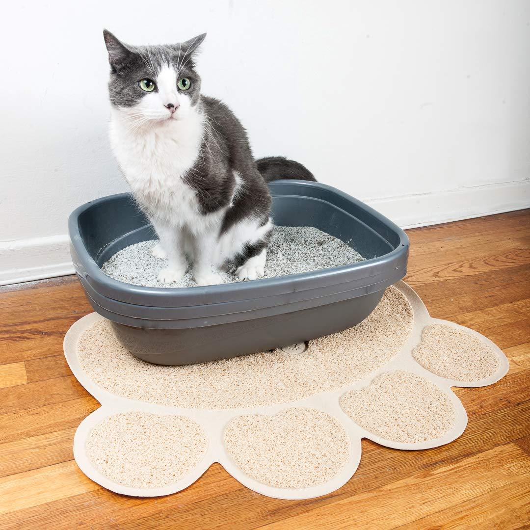 Pet Magasin - La alfombrilla para arenero de gato (Conjunto de 2 alfombrillas). Alfombrilla no tóxica, suave, duradera y resistente al agua para Gatos, ...
