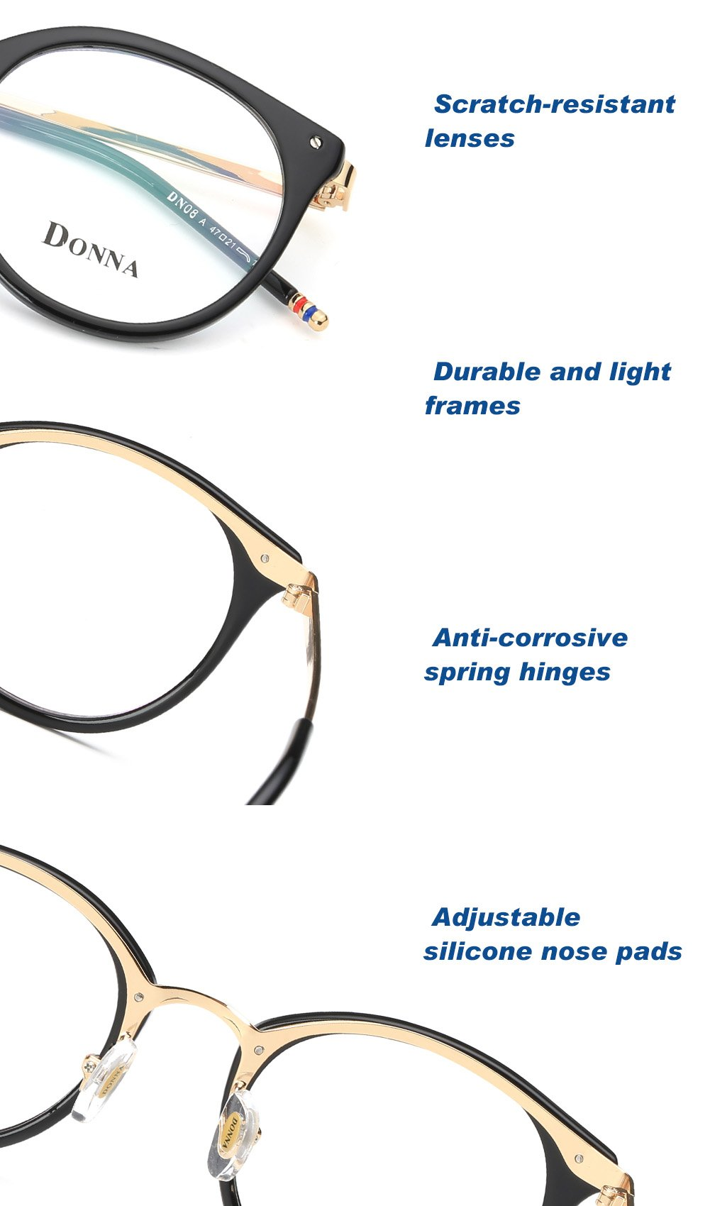 DONNA-Stylish-Clear-Lens-Frame-Glasses-Samll-Circle-Blue-Light-Blocking-for-Computer-DN08