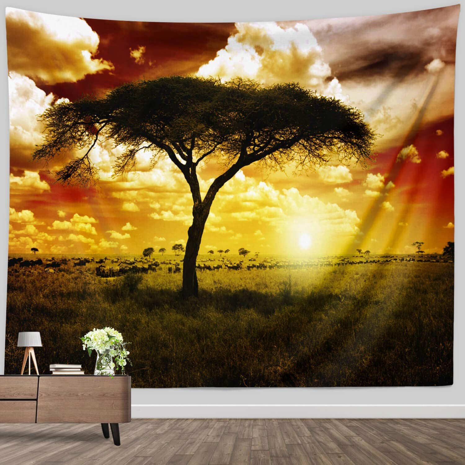 Scene Wall Tapestry Large, African Tree Wildlife Animal on Sunset Landscape Tapestry Dramatic Wall Hanging for Home Bedroom Living room Wall Decor Fabric Blanket