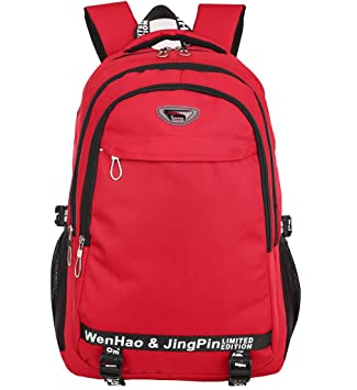 Mochila de senderismo súper moderna, mochila escolar impermeable de nailon, para deportes, ordenadores portátiles., hombre mujer Infantil, rojo, ...