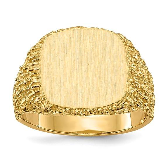 Anillo de Oro Amarillo sólido de 14 K para Hombre con Placa grabablehttps://amzn.to/2X7oLNd
