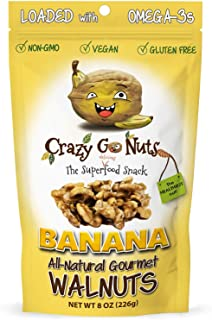 product image for Crazy Go Nuts Walnuts - Banana, 8 oz (1-Pack) - Healthy Snacks, Vegan, Gluten Free, Superfood - Natural, Non-GMO, ALA, Omega-3 Fatty Acids, Good Fats, and Antioxidants