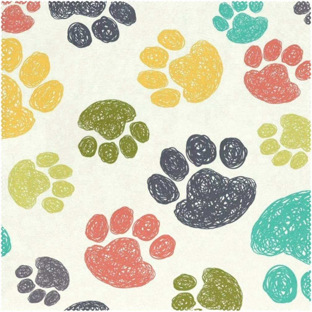 Cute Bear Paw Footprints Placemats for Dining Table Heat Resistant Square Table Mats Washable Cloth Place Mat Kitchen Table Decor for Kids Men Women Coffee 1 Piece