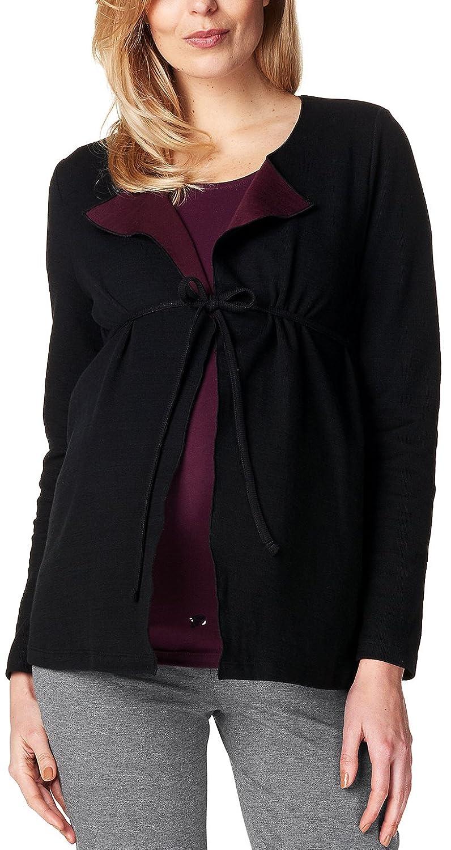 ESPRIT Maternity Damen Umstands Strickjacke Cardigan Sweat Ls, Mehrfarbig (Black 001), 42 (Herstellergröße: XL)