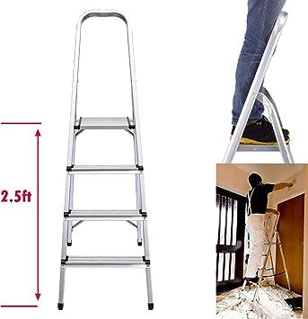 Escalera plegable de 4 peldaños de aluminio ligero, altura de plataforma superior 2.5 pies, carga máxima 330 libras, para el hogar, cocina, garaje, hogar, uso diario: Amazon.es: Bricolaje y herramientas