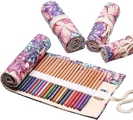 YONKINY Estuche Enrollable Lona Gran Capacidad Moda Bolsa de Lápices Dibujo Pintar Estuche Escolar Arte Para Estudiantes Niños Adultos (#5, 72 Ranuras): Amazon.es: Oficina y papelería