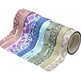 10pcs Glitter Pattern Washi Tape Adhesive Sticker Crafts Masking Decor 1.5cm x 3m Random Color