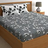 Dreamscape 100% Cotton Double bedsheet with 2 Pillow Covers Set, 144 tc Floral Grey bedsheets for Double Bed Cotton (Size 7.3ft x 8.2ft)