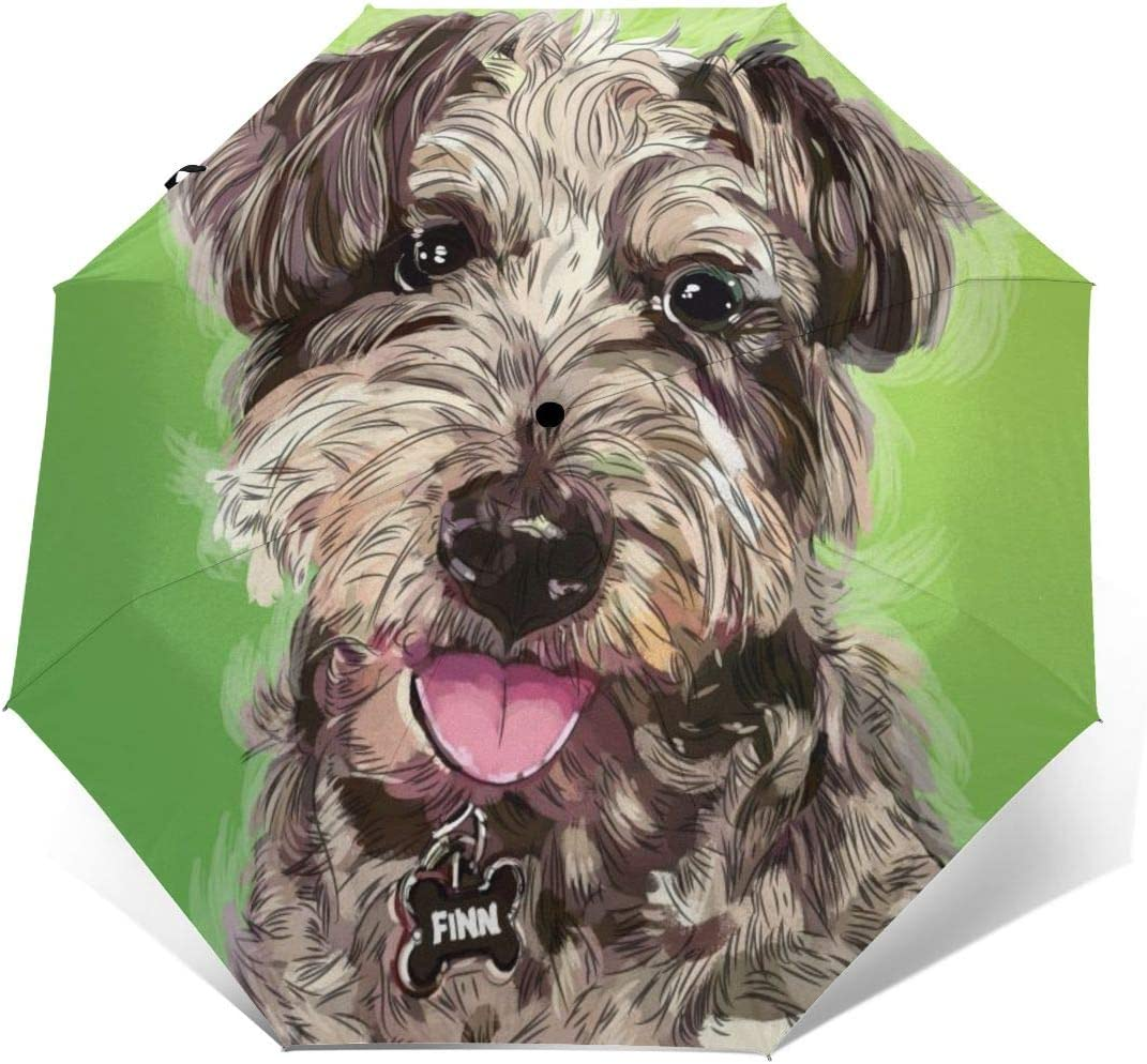Cute Funny Dog Pet Teddy Sun Umbrella Compact Folding Travel Umbrella Auto Open And Close For Windproof Rainproof UV Protection Parasol