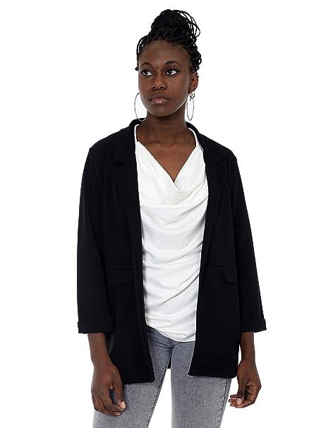 Mers Style Blazer chaqueta negra americana manga 3/4 para mujer