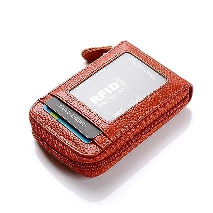 HOUSON Piel Tarjetas Monedero Piel Tarjeta de crédito Funda RFID Tarjetas de Crédito marrón