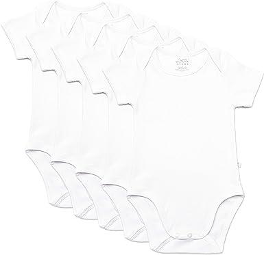 Cuddles /& Cribs Unisex Bodysuit Short Sleeve Babygrow Vest White 100/% Organic Cotton for Boys or Girls Pack of 5