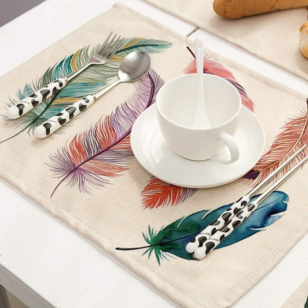 Igemy plumes Motif Coton Lin Sets de table Table de Cuisine /à caf/é Pad Tapis de Coaster Western Pad Set de table Isolation Tapis de table de salle /à manger a