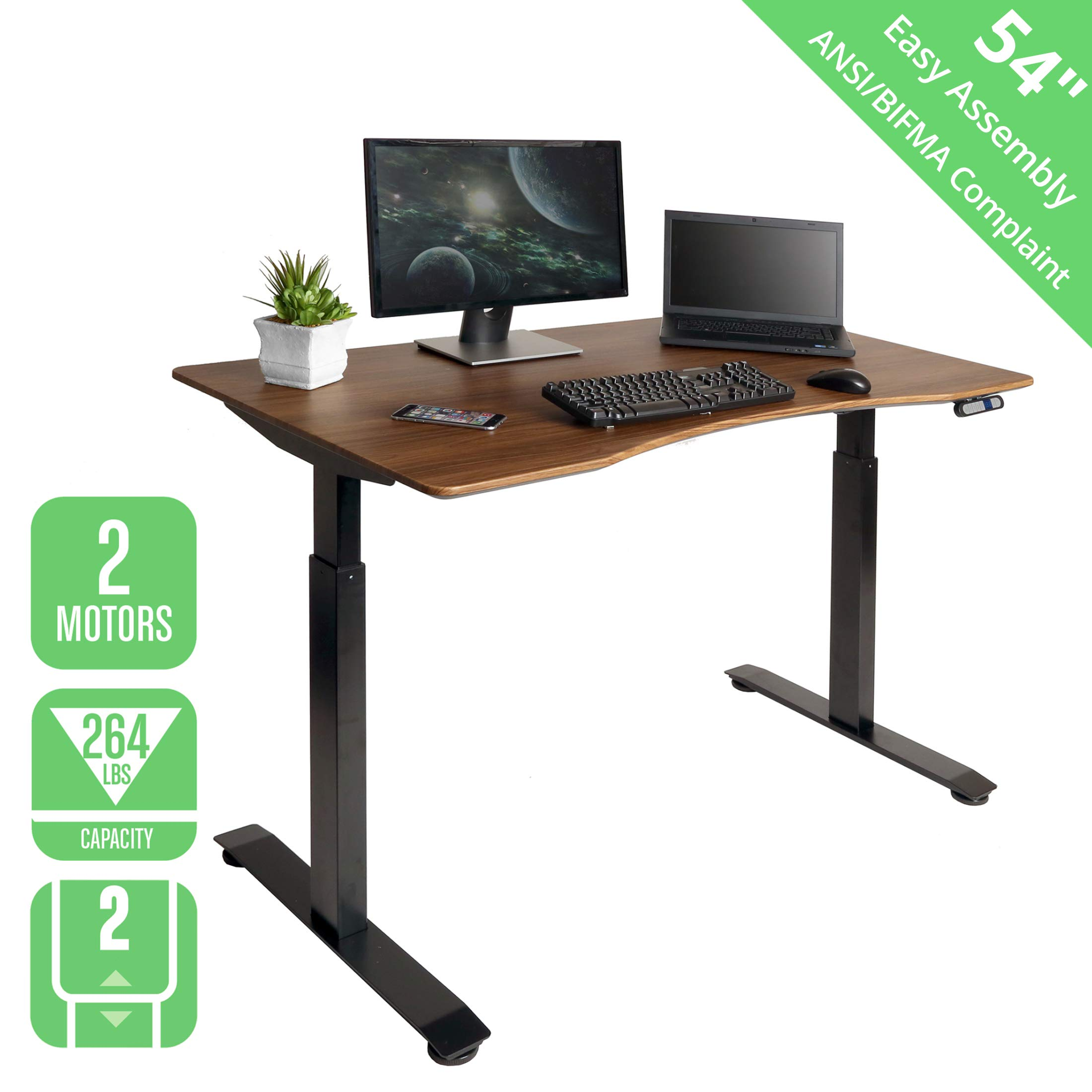Seville Classics OFFK65824 Airlift S2 Electric Standing Desk with 54'' Top, Dual Motors, 4 Memory Buttons, LED Height Display (Max. 48.4'' H) 2-Section Base, Black/Walnut, Black/Walnut, Black/Walnut by Seville Classics