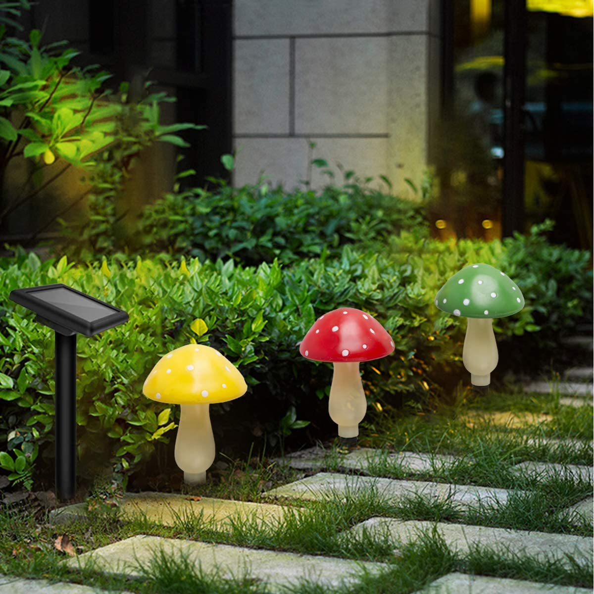 Solar Light Outdoor Mushroom lamp Garden, Decorative Figurine Lights is Suitable for Garden,Yard, Backyard,Lawn,Path Lights 1 Pack 3 Mushroom