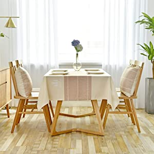 WSJIABIN Home Decor Tablecloth Nordic Style Khaki Wide Stripe Waterproof and Anti-Scald Oil-Proof Disposable Table Cloth Cloth Tablecloth Tea Table Cover Towel
