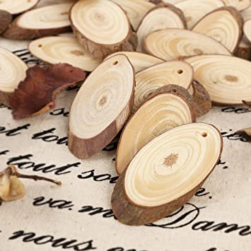 25pcs 5cm wooden wood log slices discs natural tree bark table 25pcs 5cm wooden wood log slices discs natural tree bark table decorative wedding centerpieces oval junglespirit Choice Image