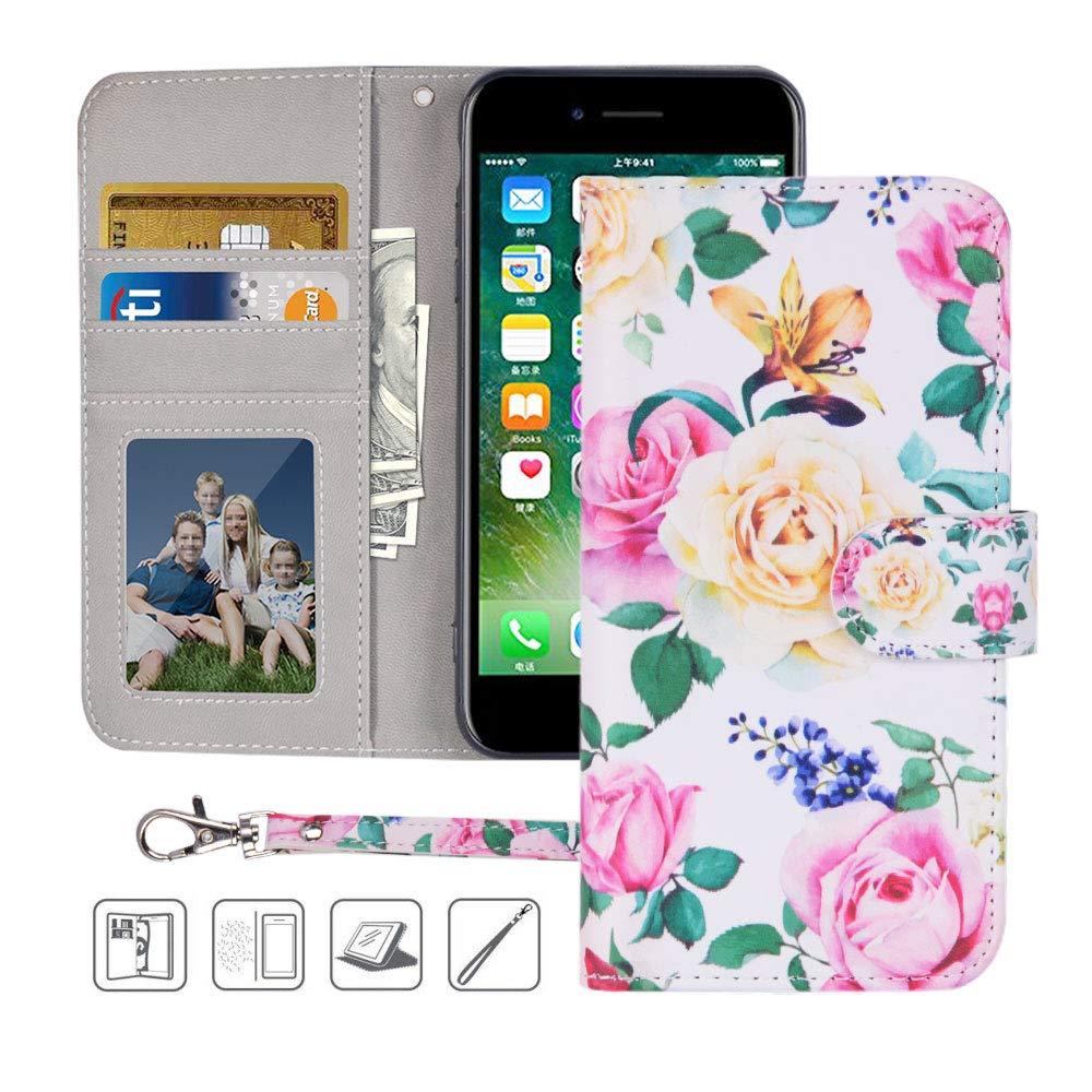 iPhone 8 Plus Wallet Case,iPhone 7 Plus Wallet Case,Urbeutyke Premium PU Leather Flip Folio Case Cover with Wrist Strap,Card Slots,Cash Pocket,Kickstand for Apple iPhone 8 Plus/iPhone 7 Plus - Flower