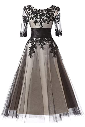 Amazon Snowskite Womens Black Lace Applique Tulle Long Formal