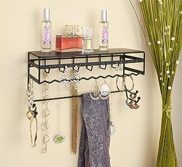Elegant Black 13.5u0026quot; Wall Mount Jewelry U0026 Accessory Storage Rack Organizer  Shelf For Earrings, Bracelets