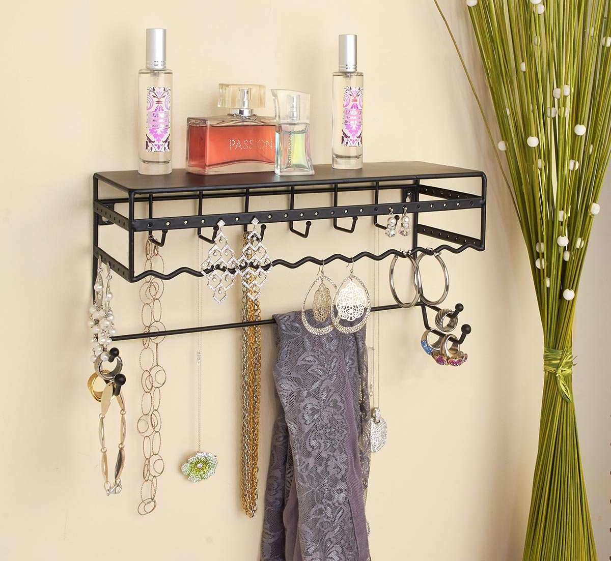 Black 13.5'' Wall Mount Jewelry & Accessory Storage Rack Organizer Shelf for Earrings, Bracelets, Necklaces, & Hair Accessories