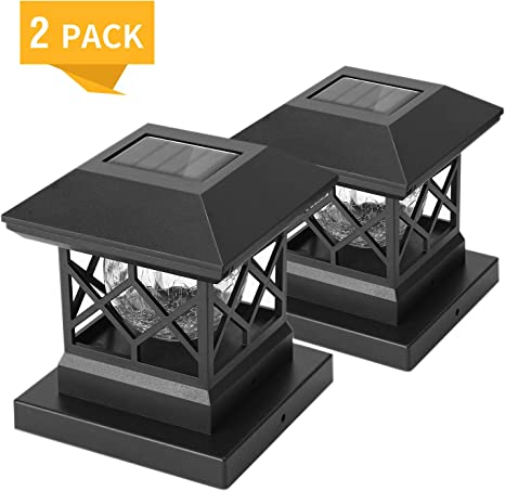 Twinsluxes Solar Post Cap Lights Outdoor Waterproof Led Fence Post Solar Lights For 3 5x3 5 4x4 5x5 Wood Posts In Patio Deck Or Garden Decoration 2 Pack Amazon Com