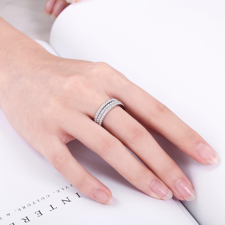 Amazon.com: EAMTI Silver Wedding Engagement Eternity Ring (9): Jewelry