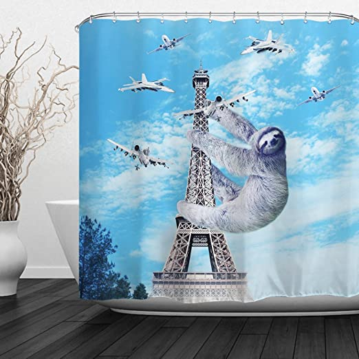QiyI Decorative Shower Curtain with Hooks Polyester Fabric Water Repellent Curtain for Bathtub Patterned Bathroom Curtains 60 Wx72 L-Leaning Tower and Sloth