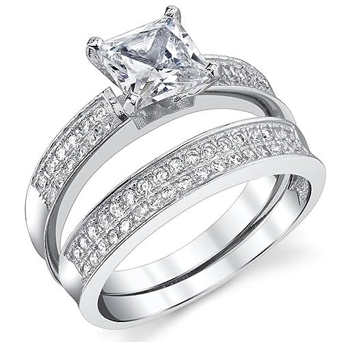 Ultimate Metals® Anillo de Matrimonio - Compromiso en Plata Esterlina, Conjunto de 2 Anillos