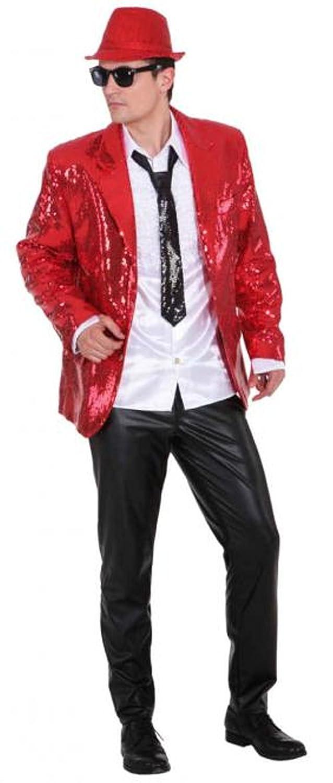 Disfraz de Carnaval para Hombre Chaqueta de Show con lentejuelas rojas - 48/50: Amazon.es: Juguetes y juegos